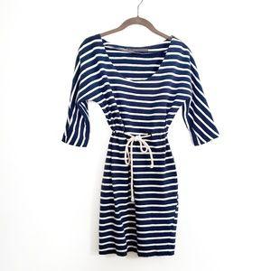 Zara Navy Striped Cotton Dress with Tied Waist